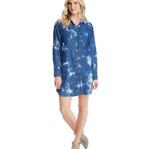Karen Kane shirt dress blue wave xs